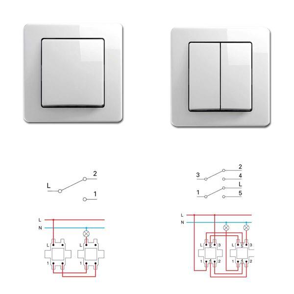 EKONOMIK Wechsel-Schalter und Doppel-Wechsel-Schalter, weiß, 250V~/10A, UP