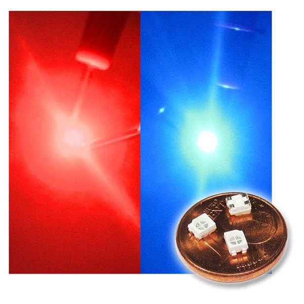 10 SMD LED PLCC-2 3528 BICOLOR rot/blau 2-farbig