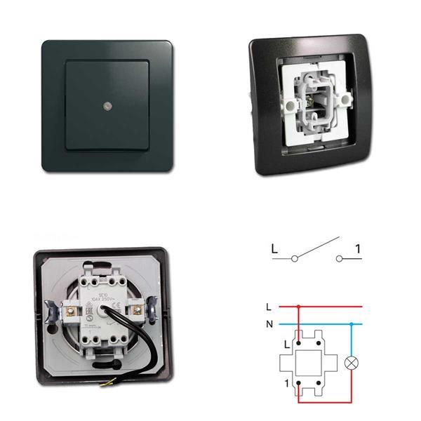 EKONOMIK Kontroll-Schalter, anthrazit , 250V~/10A, UP