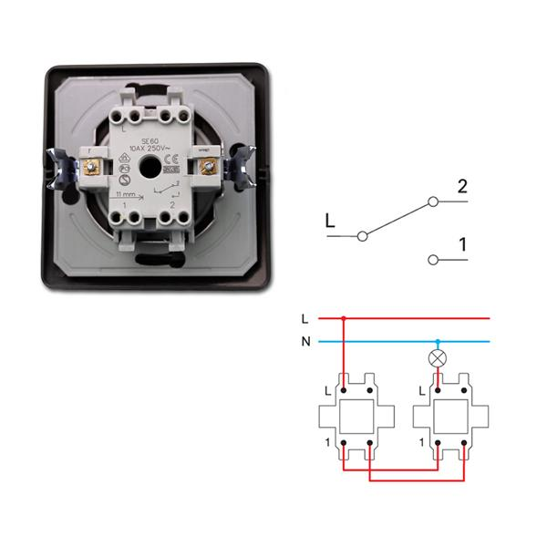 EKONOMIK Wechsel-Schalter anthrazit, 250V~/10A, UP