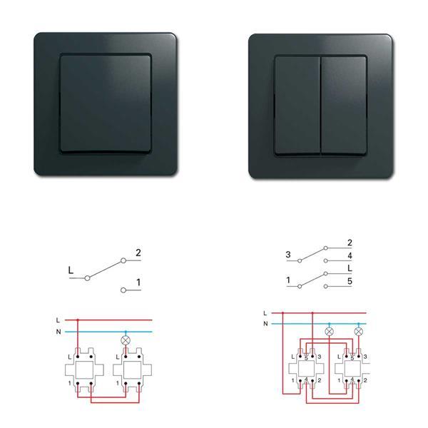 EKONOMIK Wechsel-Schalter und Doppel-Wechsel-Schalter, anthrazit, 250V~/10A, UP
