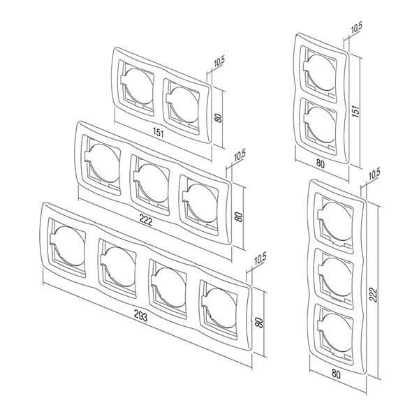 EKONOMIK Mehrfach UP-Rahmen horizontal und vertikal, anthrazit