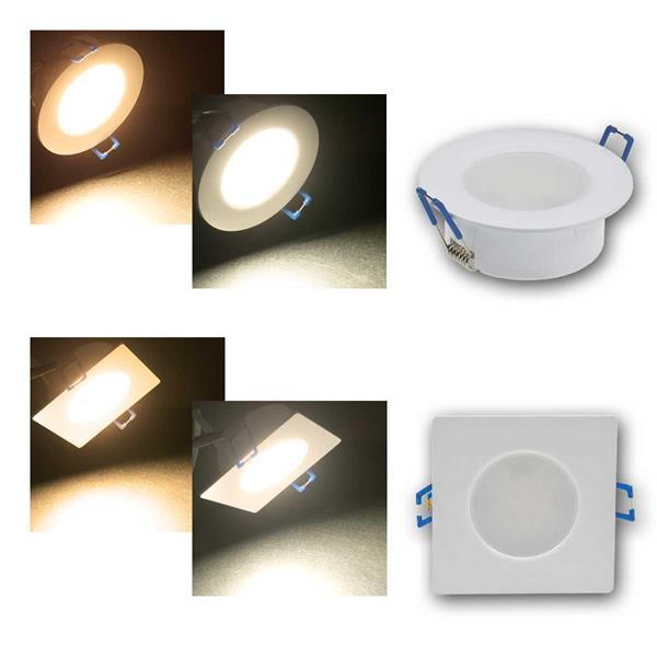 LED-Einbauleuchte Flat-30 FR rund/eckig, warm/ne