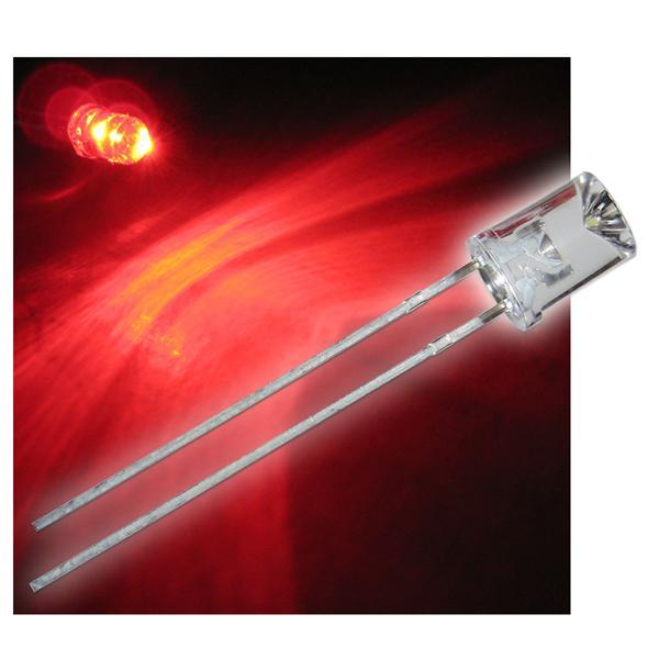10 x LED 5mm wasserklar Linse konkav - ROT LEDs
