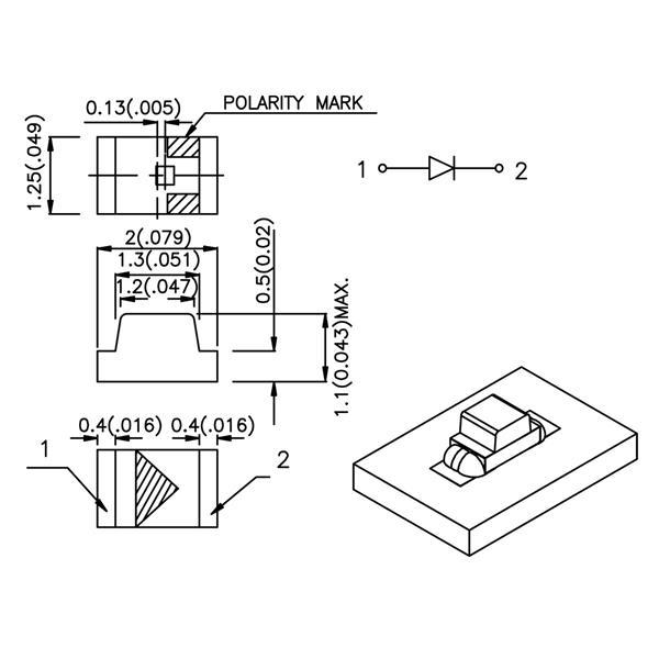 Abmessungen der SMD LED 0805