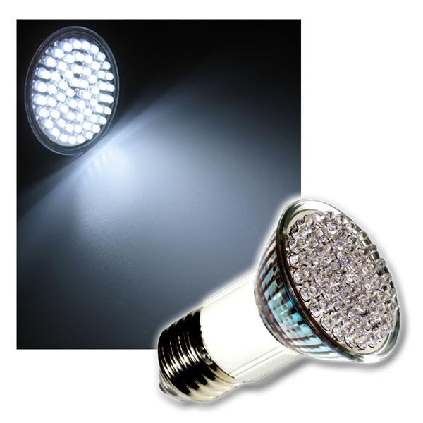 LED Strahler mit 60x3mm LEDs E27 kalt weiß 230V