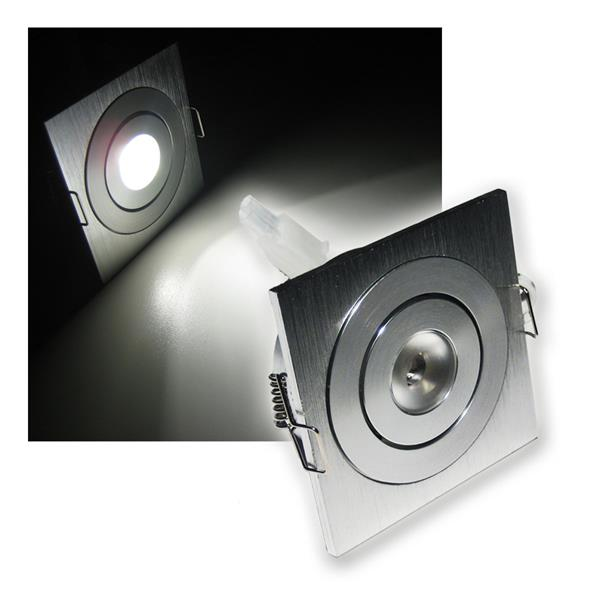 led einbaustrahler aluminium eckig pur wei 3w 12v. Black Bedroom Furniture Sets. Home Design Ideas