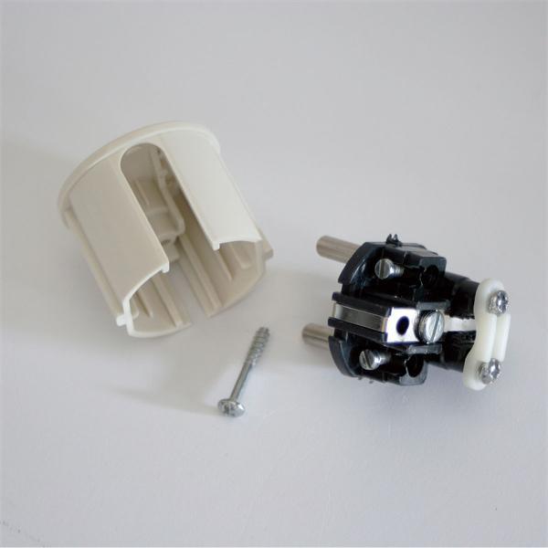 230V-Stecker weiß aus Kunststoff mit Schutzkontakt