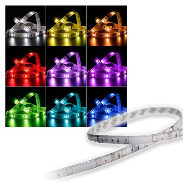 LED-Stripe RGB, 1m lang, 30 LEDs 12V, 6,5W, IP44