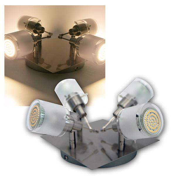 4er DESIGN LED Decken-Strahler, 60er SMDs ww, 230V