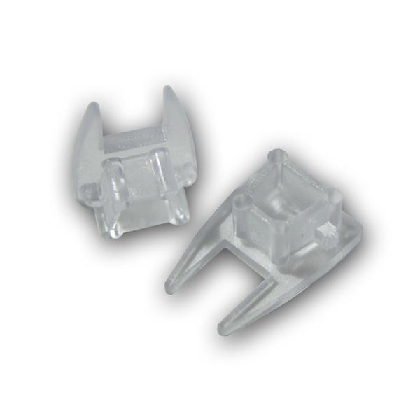 1 Paar Endkappen für Glaskantenprofil, transparent
