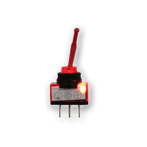 Kippschalter 1-polig, beleuchtet rot, 12V/20A Kfz