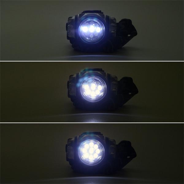 Stirnlampe mit wählbarer Beleuchtung zwischen 3, 6 oder 9 LEDs