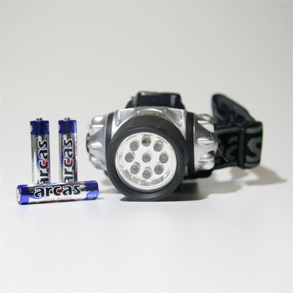 Batterieleuchte für Stirn oder Helm mit 9 LEDs