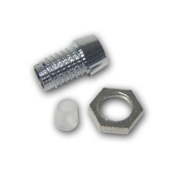"""10 LED Halter """"Srew"""" für 3mm LEDs Plastik-Chrom"""