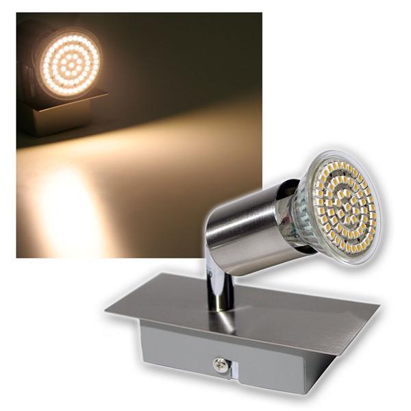 1er LED Leuchte, Edelstahl, 60er SMDs ww, 230V