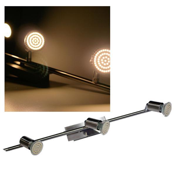 3er LED Leuchte, Edelstahl, 60er SMDs ww, 230V