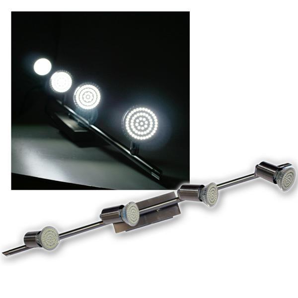 4er LED Leuchte, Edelstahl, 60er SMDs kw, 230V