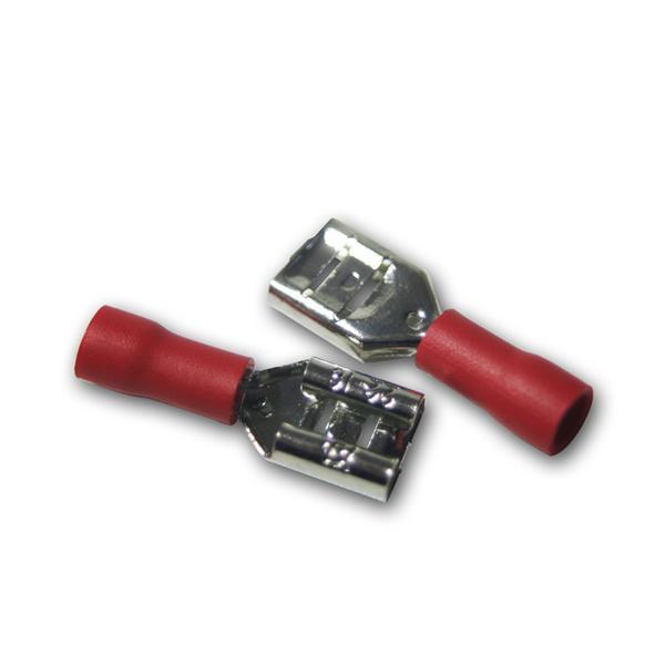 20 x Flachsteckhülse Rot 6,3x0,8mm / 0,5-1,5mm²