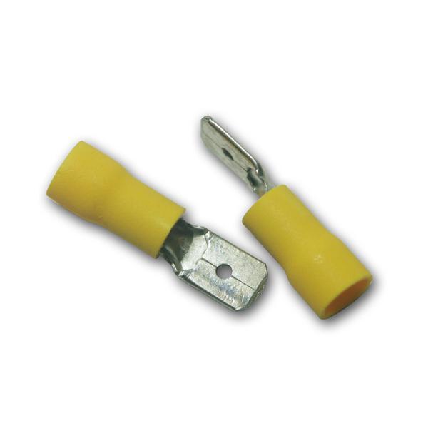 10 x Flachstecker Gelb 6,3x0,8mm / 4,0-6,0mm²