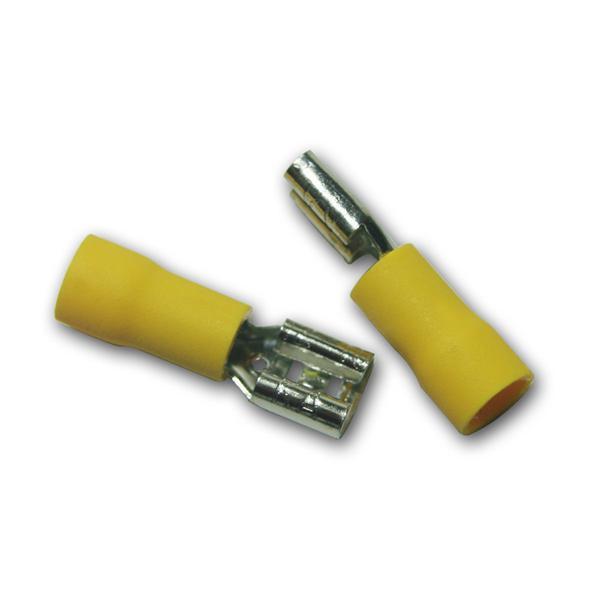 10 x Flachsteckhülse Gelb 6,3x0,8mm / 4,0-6,0mm²