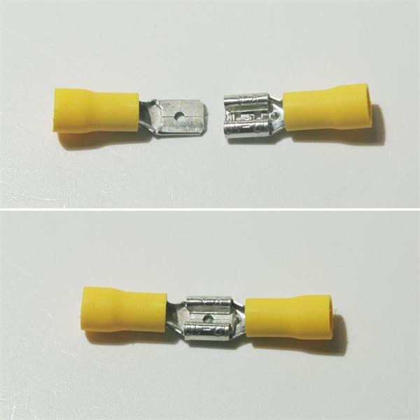 gelbe Flachsteckverbinder aus teilisoliertem PVC und Messing, verzinnt