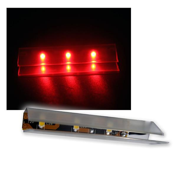 6er SET LED Glasbodenbeleuchtung 66mm rot
