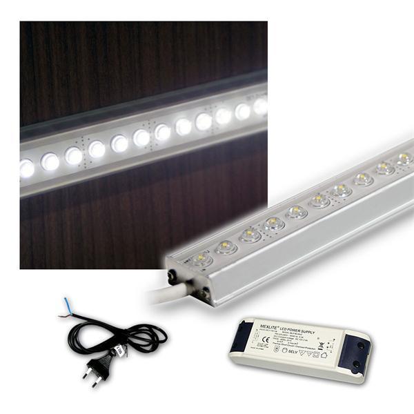 SET 4x100cm LED Alu-Leiste mit Zubehör PUR-WEISS