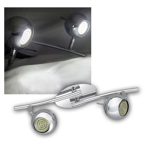 LED DESIGN Leuchte 2-flg, 60er GU10 SMDs kw, CHROM