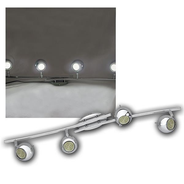 LED DESIGN Leuchte 4-flg, 60er GU10 SMDs kw, CHROM