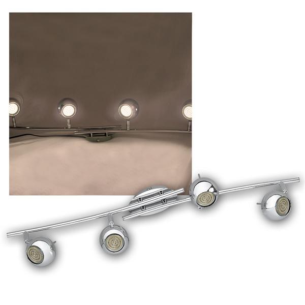 LED DESIGN Leuchte 4-flg, 60er GU10 SMDs ww, CHROM