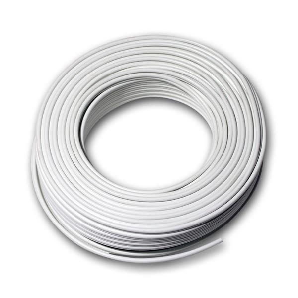 25m Zwillingslitze 2x 0,75mm² weiß/weiß-grau