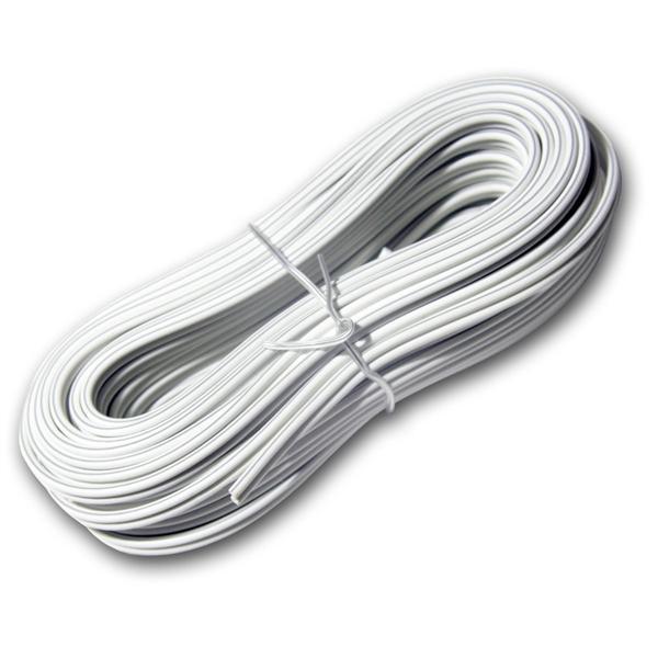 10m Zwillingslitze 2x 0,50mm² weiß/weiß-grau