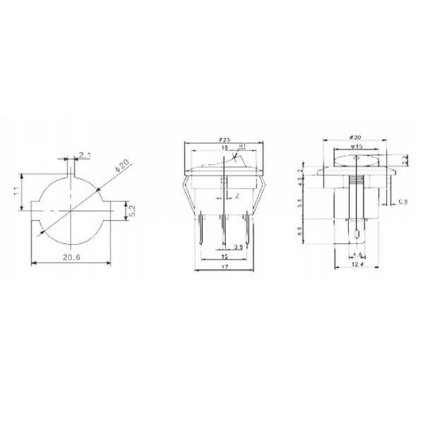 1-poliger Wippschalter für Snap-In Montage zur Verwendung im Niedervoltbereich