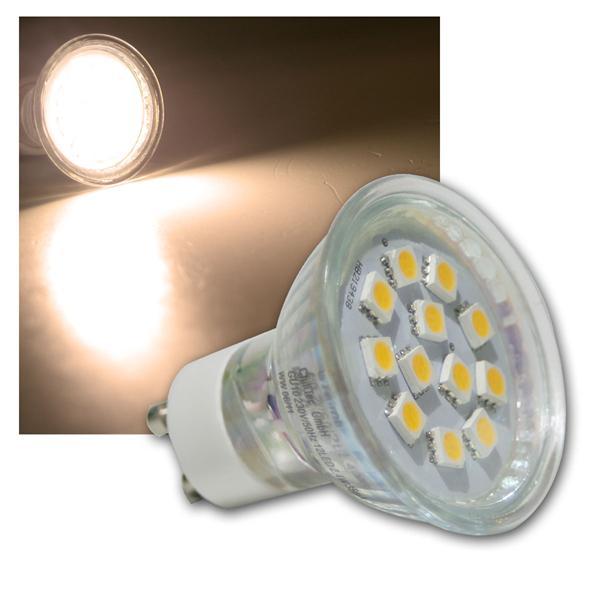 LED-Strahler GU10 12x 5050 SMD LEDs warm weiß