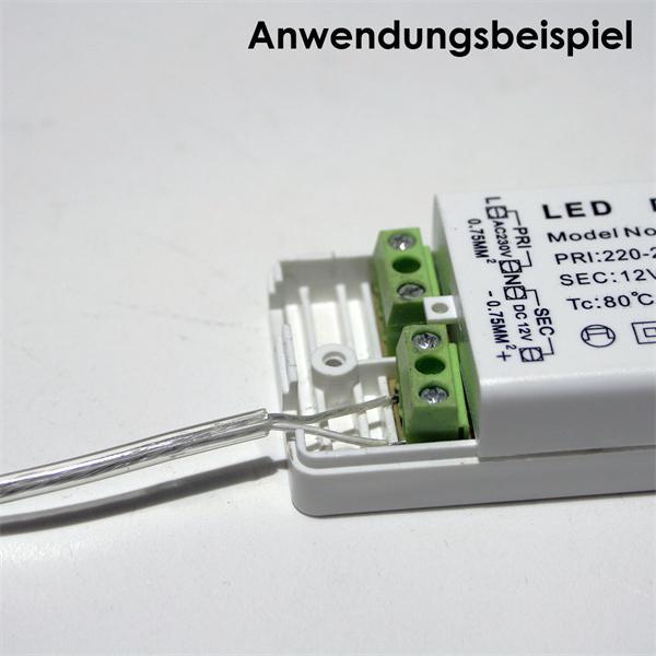 blanke Kabelenden zum Anschluss an einen LED Transformator