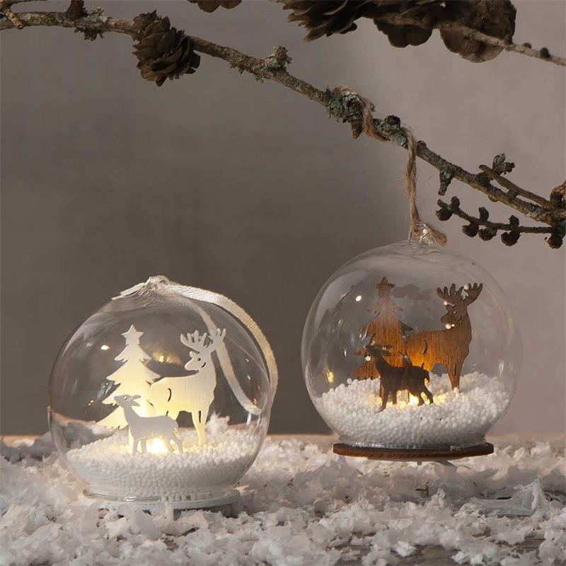 "LED ball ""FAUNA"" | Christmas tree ball | white / nature"