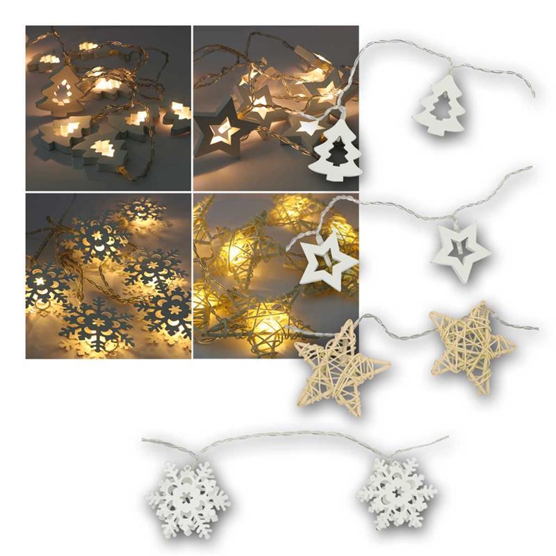 LED fairy lights winter motifs   warm white, battery, timer