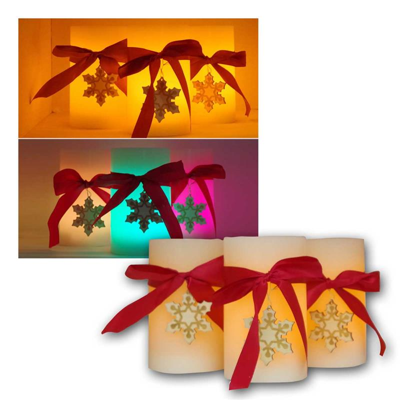 Set of 3 LED wax candles | color/  warm white | timer