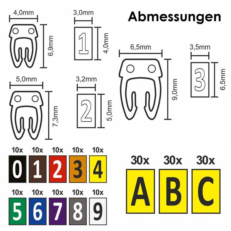 Kabelmarker-Clips | Kabelmarkierer | Ziffern oder Buchstaben