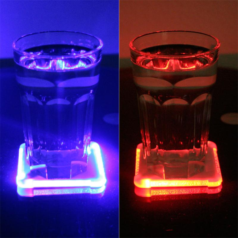 Led color changing glass drink coaster rgb led s - Lighted coaster ...