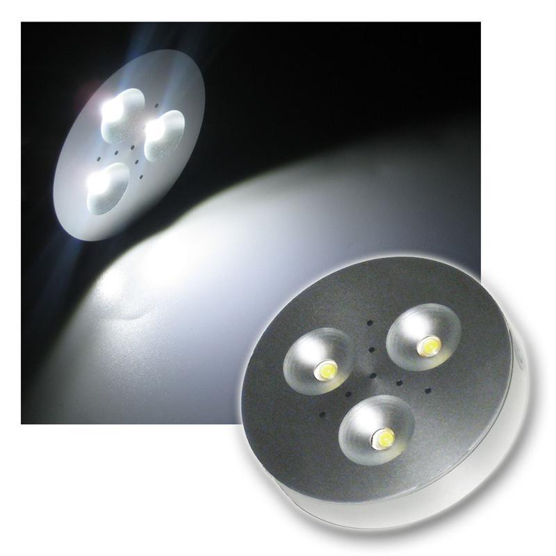 LED puck light 3x1W   Aluminium Spot   purweiß 12VDC