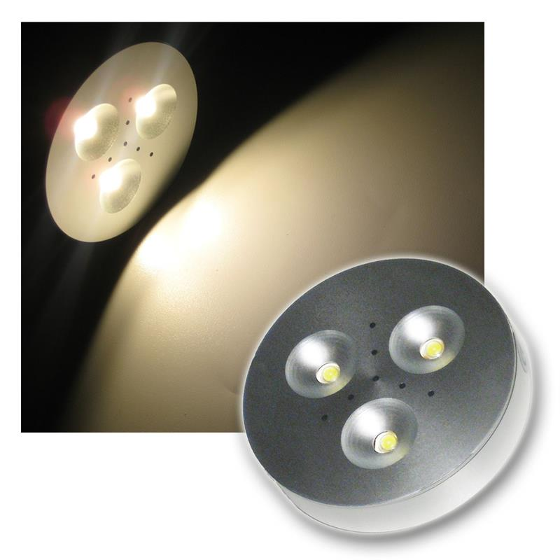 led puck light aluminum spot 3x1w warm white 12v. Black Bedroom Furniture Sets. Home Design Ideas