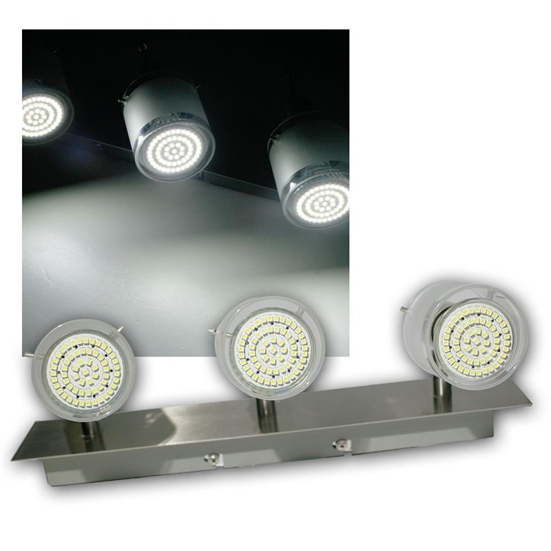 3er DESIGN LED Decken-Strahler, 60er SMDs kw, 230V