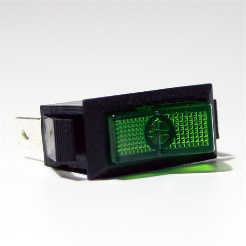Wippschalter 1-polig, grüne Wippe, 12V/20A Kfz