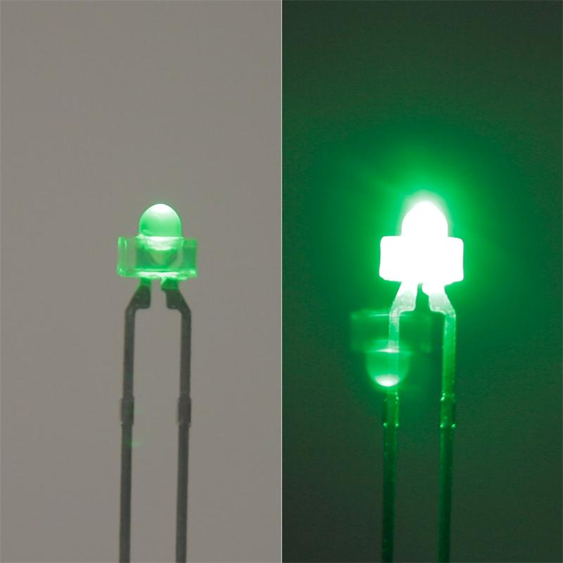 10 LED 1,8mm diffused green with white lens, SET