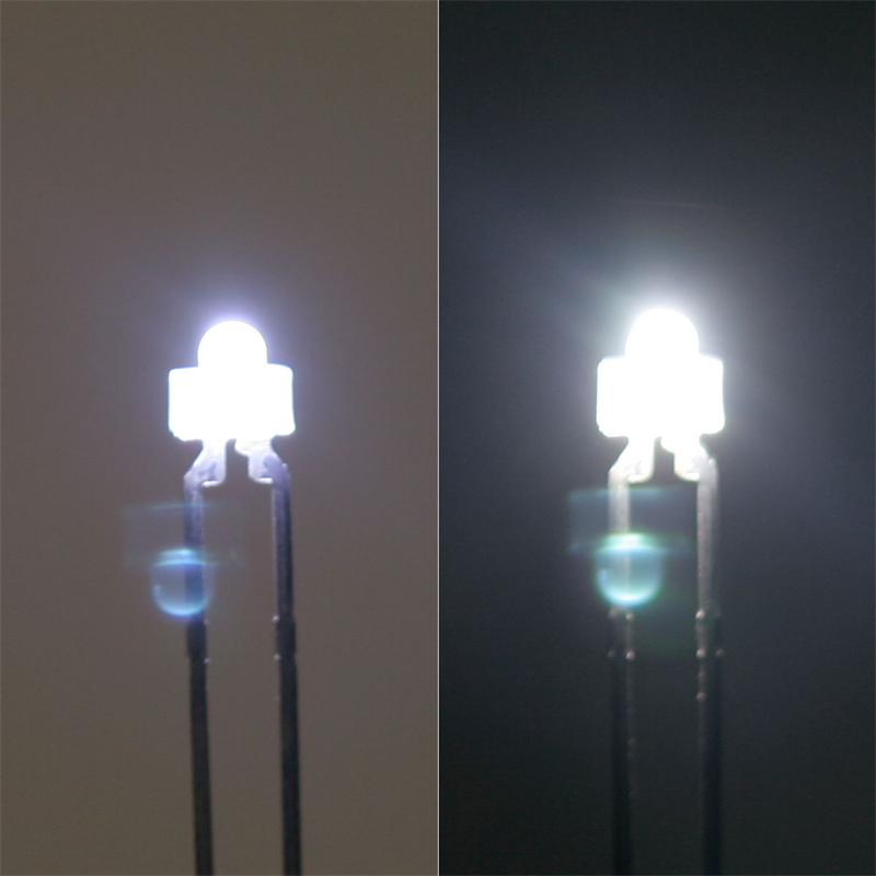 10x LED 1,8mm diffus pur-weiß (weiße Linse) SET