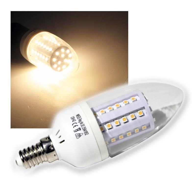 led kerzenlampe e14 60 smd leds warmwei 230v. Black Bedroom Furniture Sets. Home Design Ideas